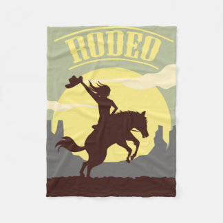 Rodeo Cowgirl and Horse Sunset Fleece Blanket