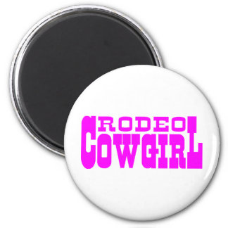 RODEO COWGIRL 6 CM ROUND MAGNET