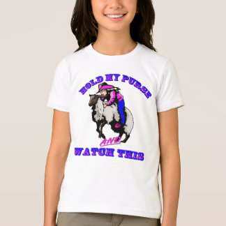 """Rodeo Cowgirl Mutton Bustin"""" Purse Watch This T-Shirt"""