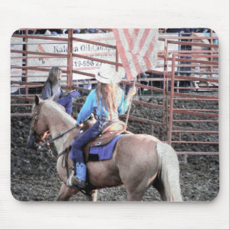 Rodeo Flag Horse and Cowgirl Mouse Pad