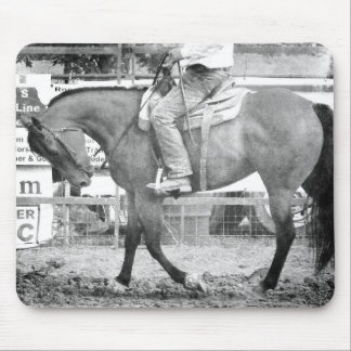 Rodeo Horse Warm-up Black and White Mouse Pad