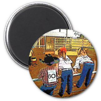 RODEO KIDS ON THE FENCE 6 CM ROUND MAGNET
