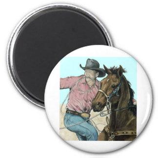 RODEO Partners, Cowboy Steer Wrestling 6 Cm Round Magnet
