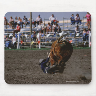 Rodeo rider falling from bull mouse pad