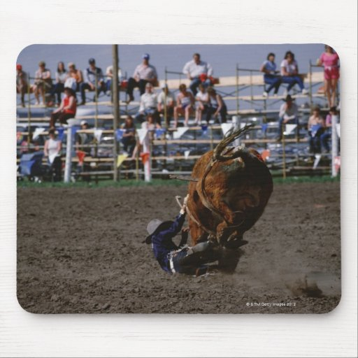 Rodeo rider falling from bull mousepad