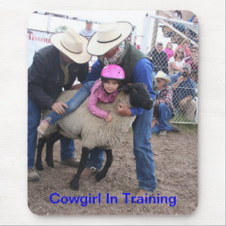 Rodeo Sheep Rider Cowgirl in Training Mouse Pad