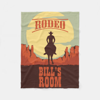 Rodeo Sunset Cowboy and Horse Fleece Blanket