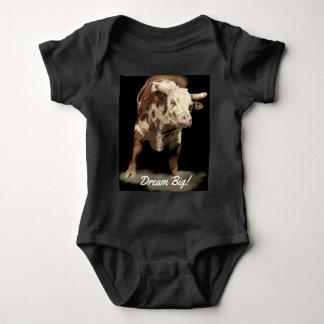 Rodeo Theme Bucking Bull Dream Big Baby Bodysuit