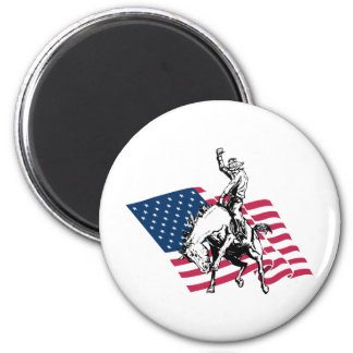 Rodeo USA - America, Cowboy Horse and flag 6 Cm Round Magnet
