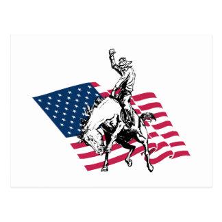 Rodeo USA - America, Cowboy Horse and flag Postcard