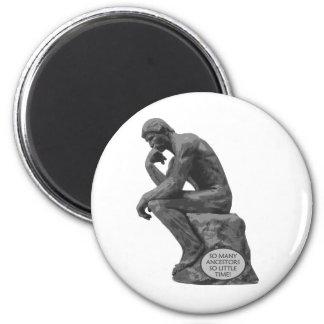 Rodin's Thinker - So Many Ancestors 6 Cm Round Magnet