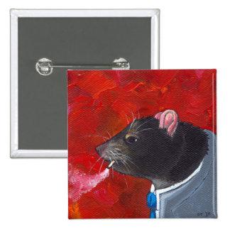 Rodney the Rat - business suit smoking unique art 15 Cm Square Badge