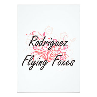Rodriguez Flying Foxes with flowers background 13 Cm X 18 Cm Invitation Card