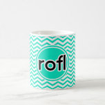 rofl; Aqua Green Chevron Mugs