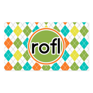 rofl Colorful Argyle Pattern Business Cards
