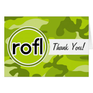 rofl; Lime Green Camo, Camouflage Greeting Card