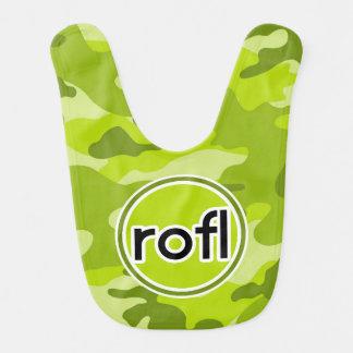 rofl Lime Green Camo Camouflage Baby Bib