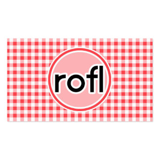 rofl; Red and White Gingham Pack Of Standard Business Cards