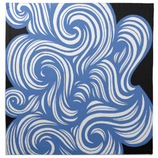 Rogal Abstract Expression Blue White Napkin
