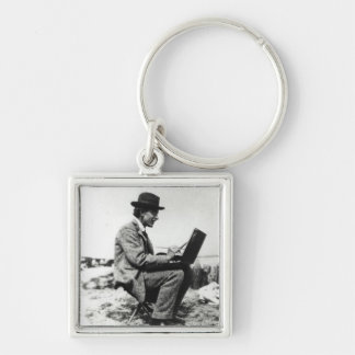 Roger Fry Silver-Colored Square Key Ring