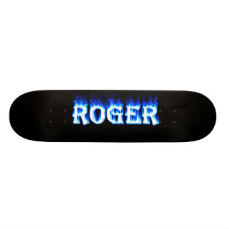 roger ghost flame skateboard graphic design by man
