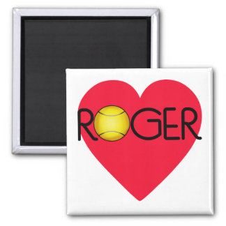 ROGER with Heart and Tennis Ball Square Magnet