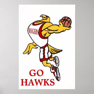 Rogers GHawk Basketball Mascot Poster - Tall