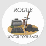 Rogue: Watch Your Back Classic Round Sticker