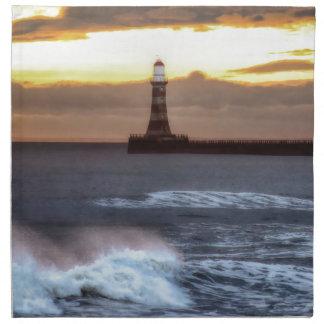 Roker pier and lighthouse sunrise printed napkin
