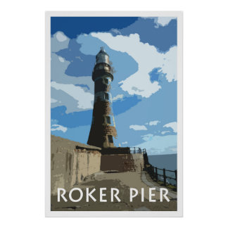 ROKER PIER, SUNDERLAND Vintage Style Poster