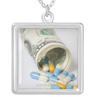 Roll of Dollar notes and capsules Silver Plated Necklace