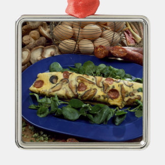 Rolled omelette with shiitake and chorizo - christmas ornament