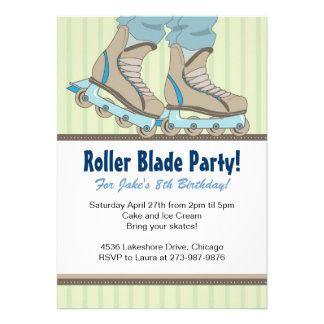 Roller Blade Themed Birthday Party Invitations