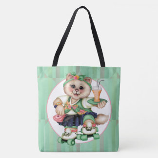 ROLLER CAT CARTOON All-Over-Print Tote Bag Large