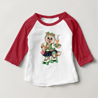 ROLLER CAT CUTE Baby American Apparel 3/4 Sleeve 2 Baby T-Shirt