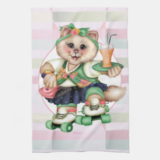 ROLLER CAT CUTE Linen with crockery Tea Towel