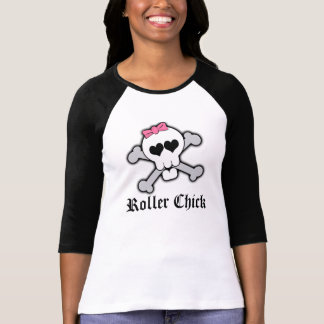 Roller Chick,Pink Skull and Crossbones with Hearts T-Shirt