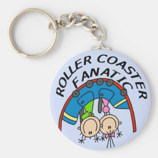 Roller Coaster Fanatic Tshirts and Gifts Basic Round Button Key Ring