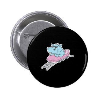 roller coaster hippo 6 cm round badge