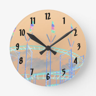 roller coaster invert orange sky round clock