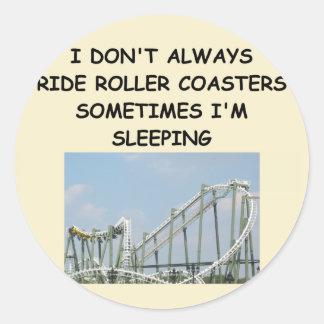 roller coaster round sticker