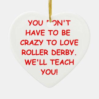 roller derby ceramic heart decoration
