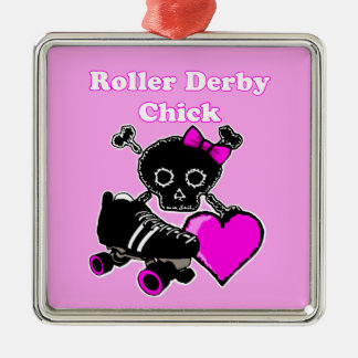 Roller Derby Chick (Pink) Christmas Ornament