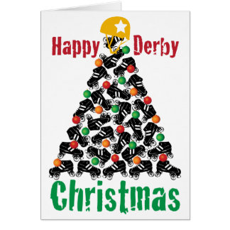 Roller Derby Christmas, Roller Skating Card