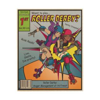 Roller Derby Comic Wood Wall Art