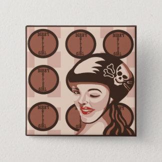 roller derby girl 15 cm square badge