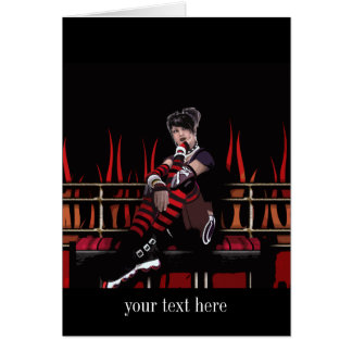 Roller Derby Girl Gothic Pin-up Card