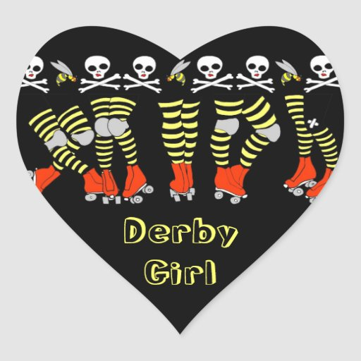 Roller Derby Heart Shaped Stickers