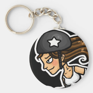 Roller Derby Jammer black and white Basic Round Button Key Ring