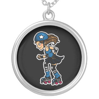 Roller Derby Jammer Silver Plated Necklace